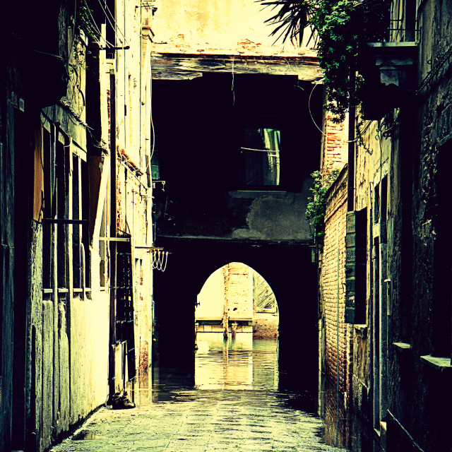 """Paved old narrow passage in Venice"" stock image"