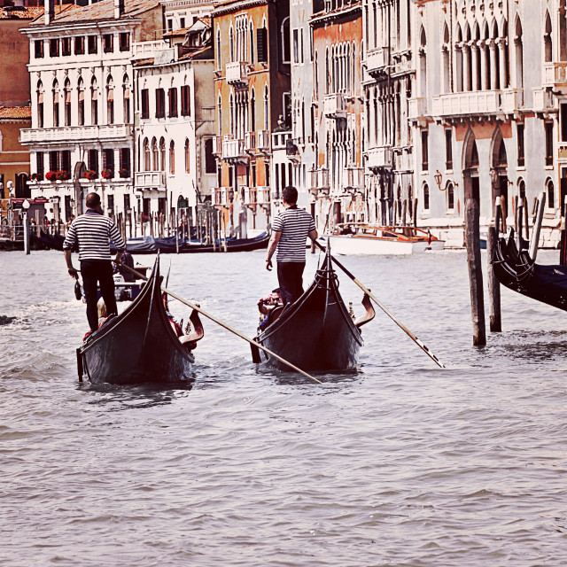 """Venice, two gondolas on Grand Canal"" stock image"