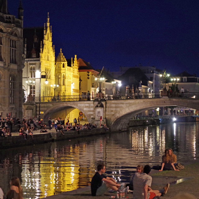 """Waterside at night, Ghent, Flanders"" stock image"