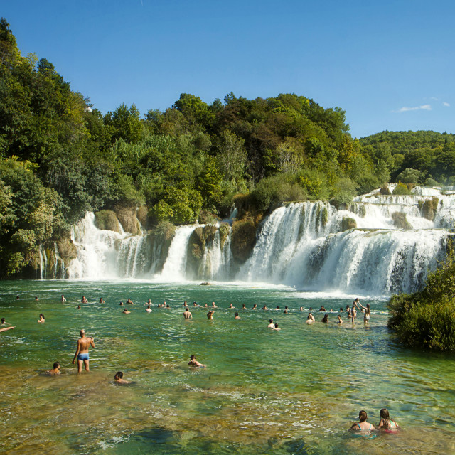 """Tourists at Krka waterfalls, Croatia"" stock image"
