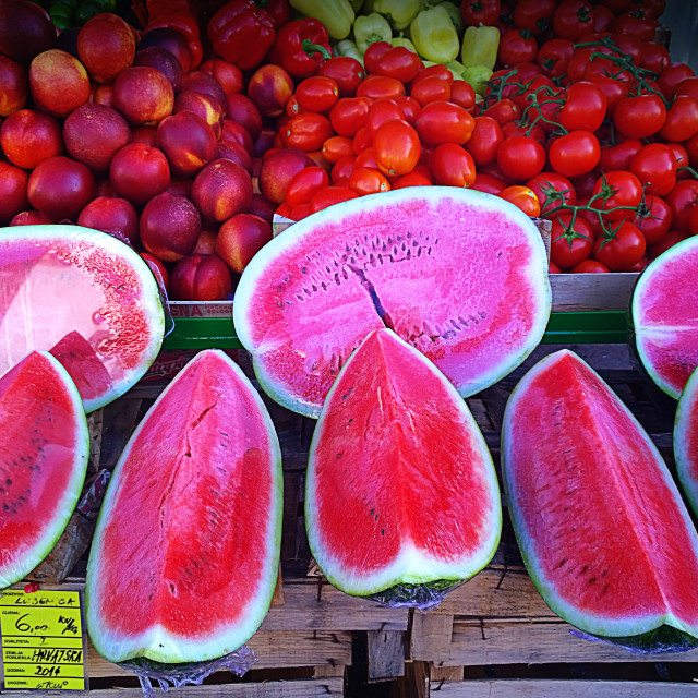 """Red water melon slices on sell at market"" stock image"