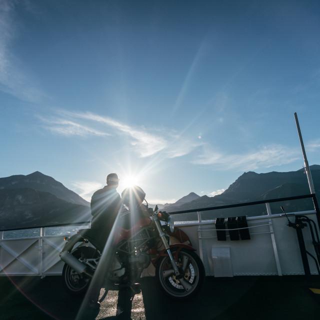 """Biker on Ferry"" stock image"
