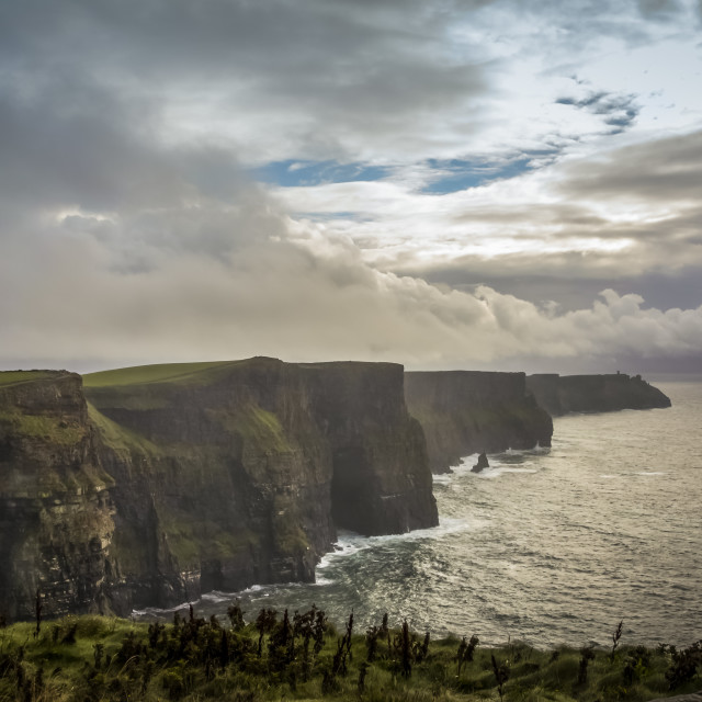 """A spot of sunlight on the Cliffs of Moher"" stock image"