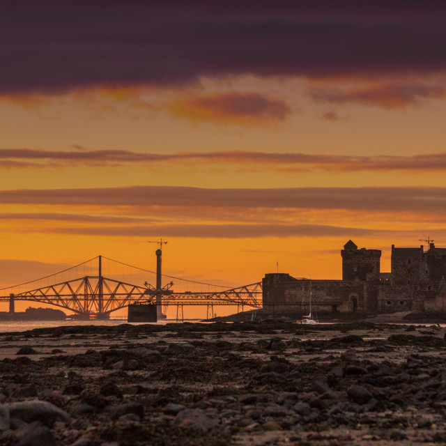 """Blackness Castle and the Forth Bridges"" stock image"