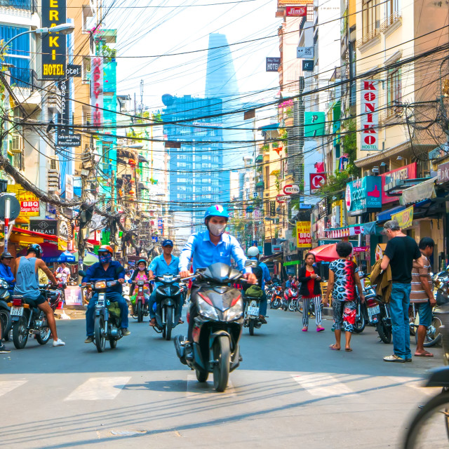 """""""Street scene of daily life in Ho Chi Minh City"""" stock image"""