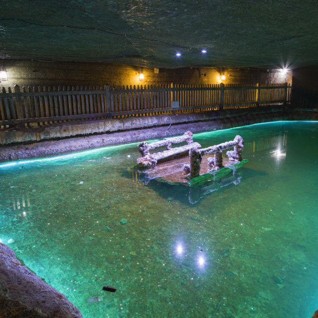 """Underground lake in a Salt Mine"" stock image"
