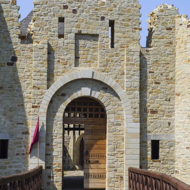 """""""Entrance to medieval fortress restoration"""" stock image"""