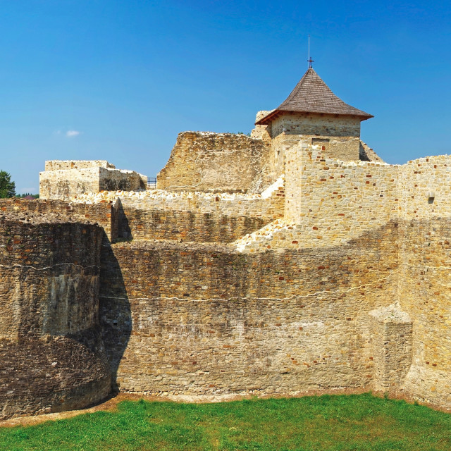 """""""Medieval ruins of Suceava fortress"""" stock image"""