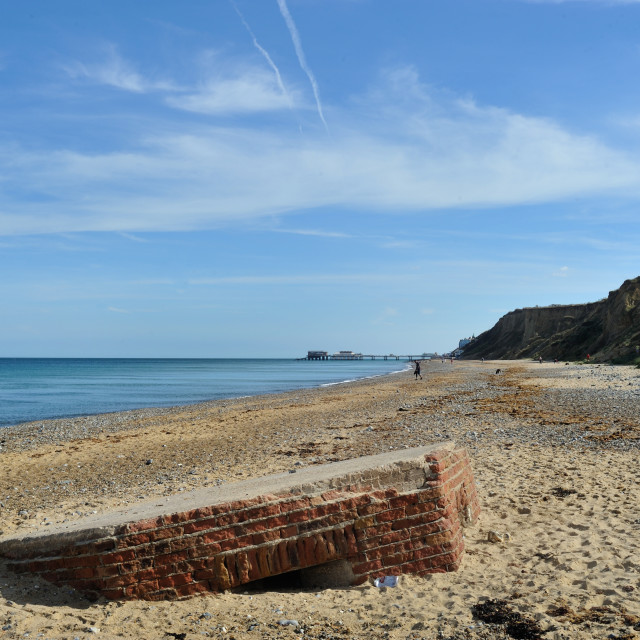 """A WW2 Pillbox on the beach near Cromer, Norfolk"" stock image"