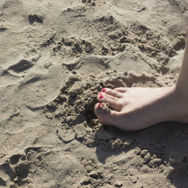 """""""Lady's feet in sandals on beach"""" stock image"""