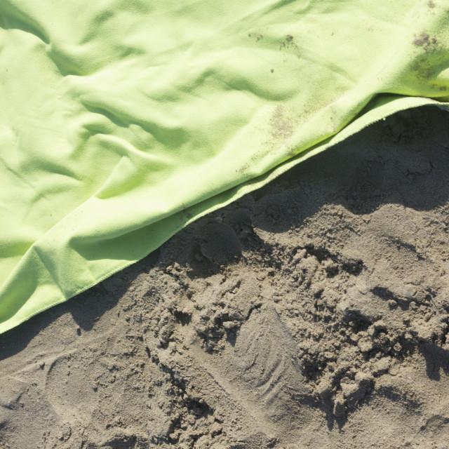 """Towel on beach holiday"" stock image"