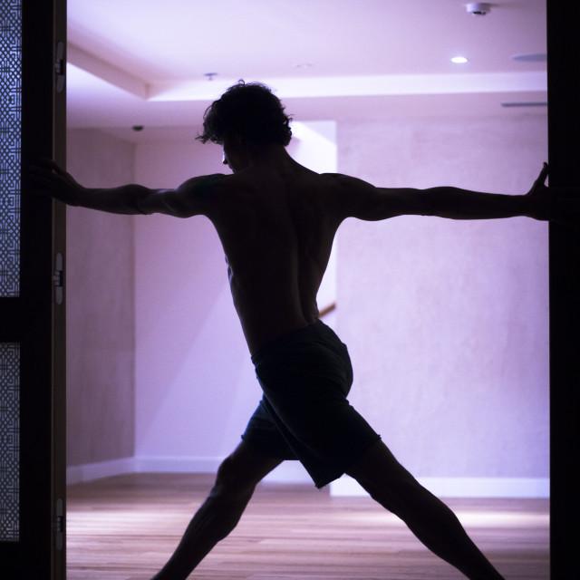 """""""Man yoga teacher practice"""" stock image"""