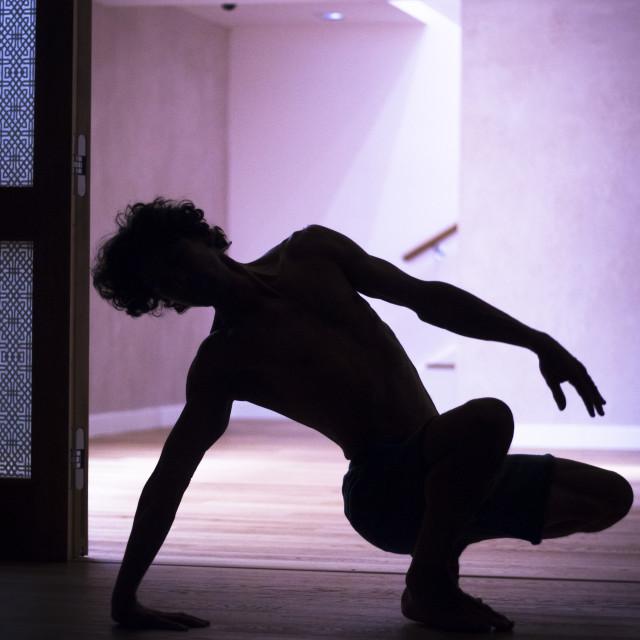 """""""Yoga teacher backbend asana"""" stock image"""
