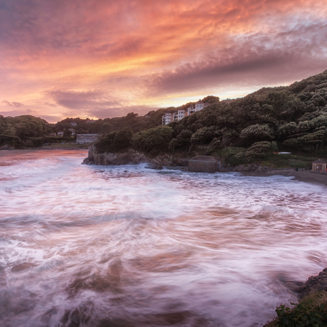 """Caswell Bay sunset"" stock image"