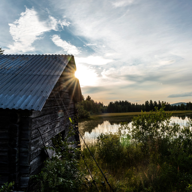 """""""Boat house in sunset"""" stock image"""