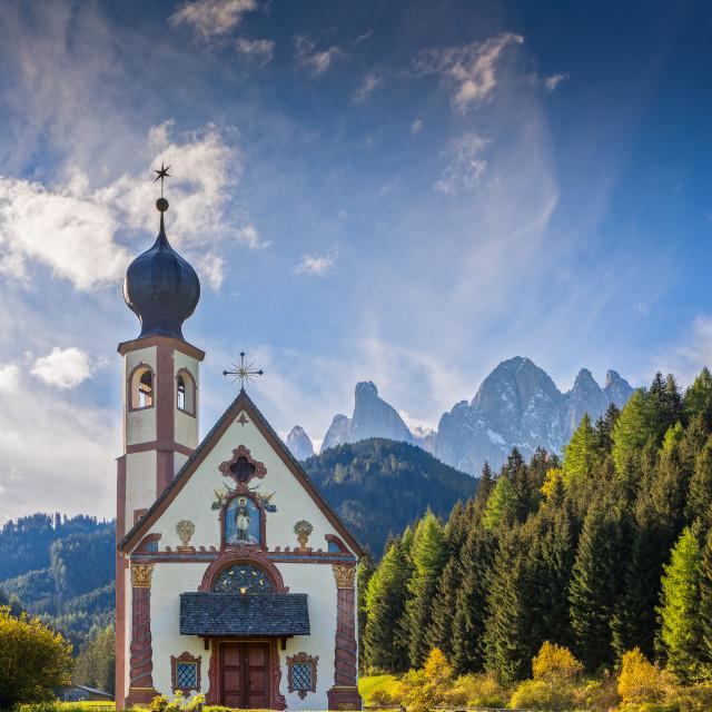 """San Giovanni Chiesa, Dolomites, Italy"" stock image"