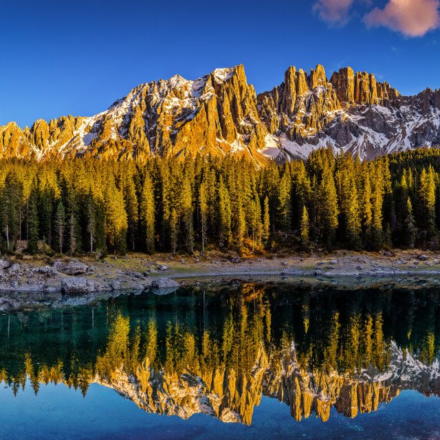 """Carezza Lake, Dolomites, Italy"" stock image"