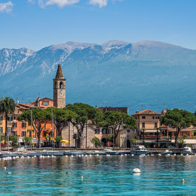 """Fishermen's village by the Garda Lake, Italy"" stock image"