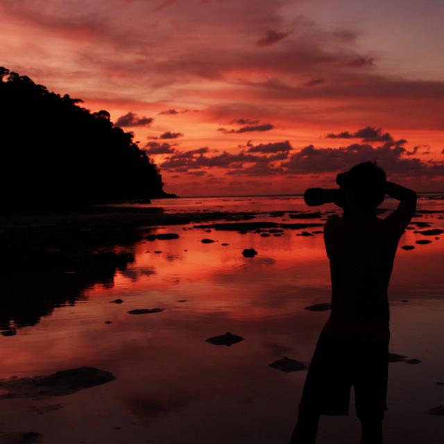 """photographer shooting seascape with twilight sky"" stock image"