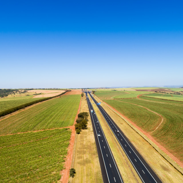 """Top View of a Highway in Rural Area"" stock image"