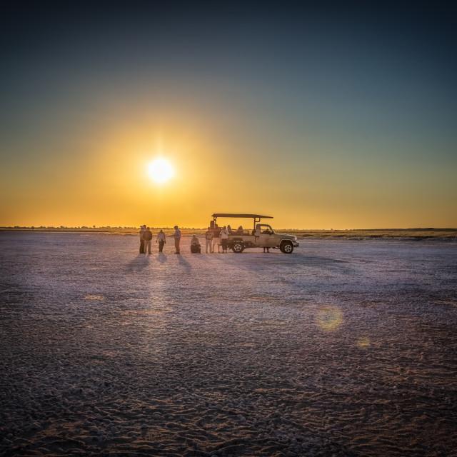 """""""Makgadikgadi Pan at Sunset"""" stock image"""