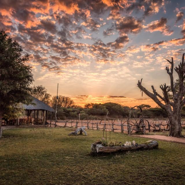 """Kalahari Homestead at Sunset"" stock image"