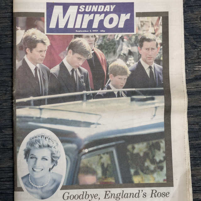 """British Newspaper reporting the Funeral of Princess Diana"" stock image"