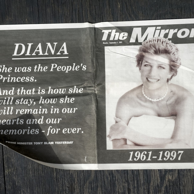 """British Newspaper reporting the Death of Princess Diana"" stock image"