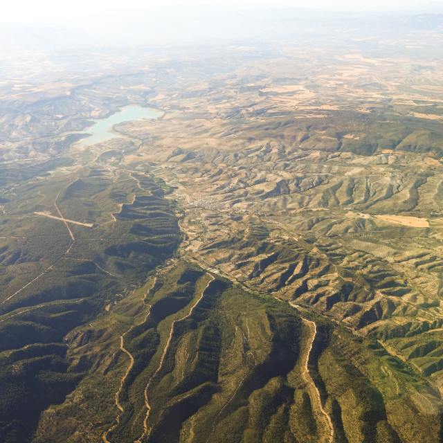 """aerial view of mountainous landscape, North of Spain"" stock image"