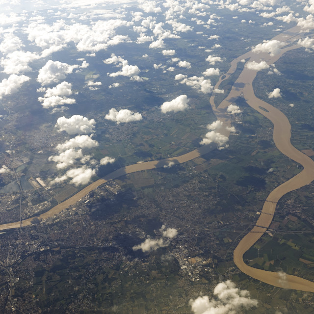 """aerial view of rivers Dordogne and Garonne"" stock image"