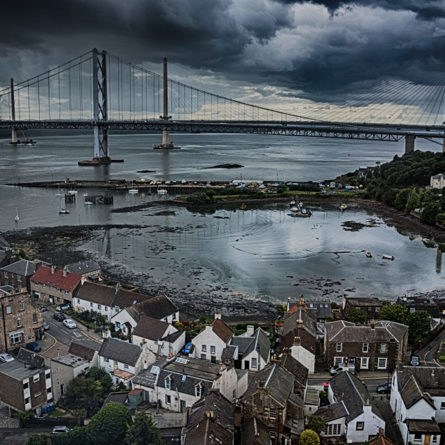 """""""North Queenferry and the Forth Bridges"""" stock image"""