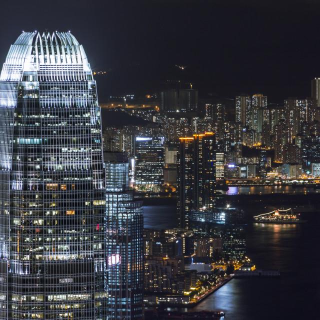 """International Finance Center of Hong Kong at Night"" stock image"
