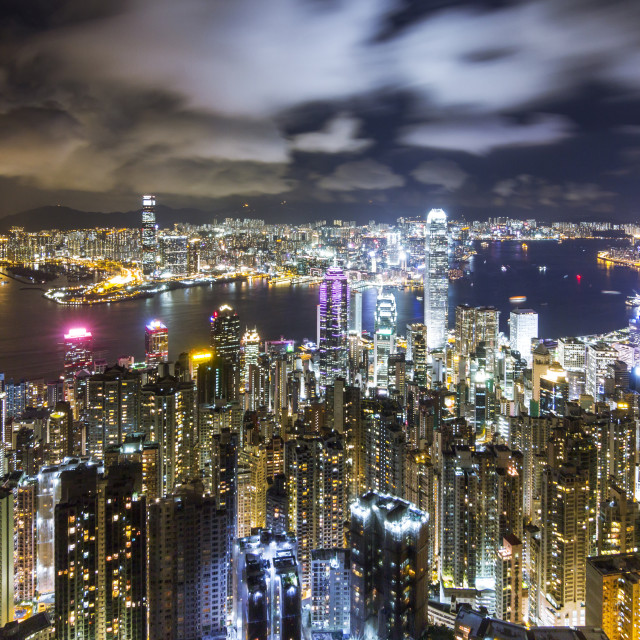 """""""Hong Kong Skyline at Night, View from The Peak"""" stock image"""