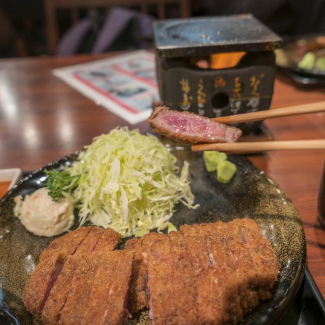 """Japanese Beef Cutlet Wagyu Katsu with chopsticks"" stock image"