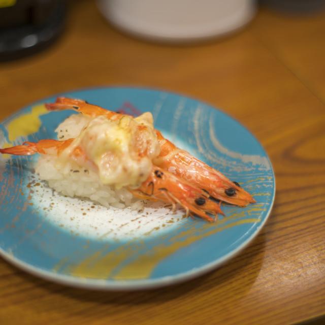 """Shrimp Sushi, Nigifi Sushi in a sushi bar"" stock image"