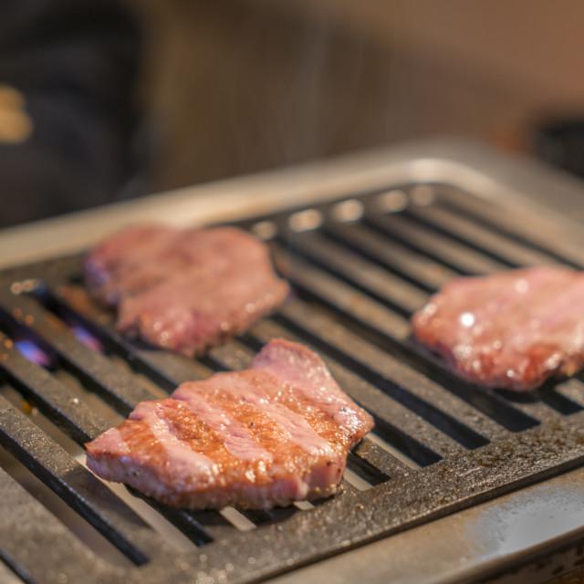 """Japanese Beef Cutlet Wagyu Katsu on heat plat"" stock image"
