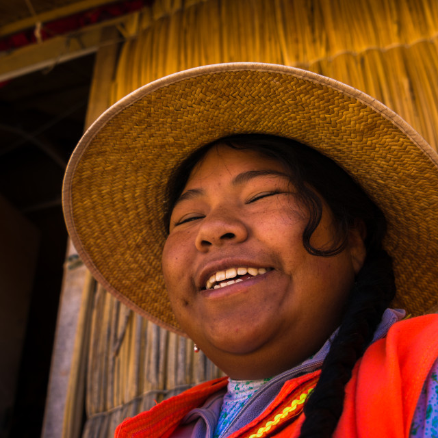 """Local woman from Uros village in Puno, Peru"" stock image"