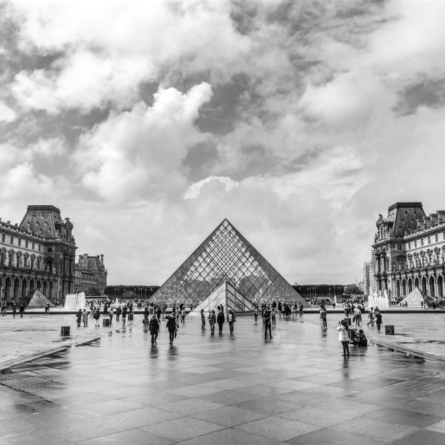 """The Louvre, Paris. Black and white."" stock image"