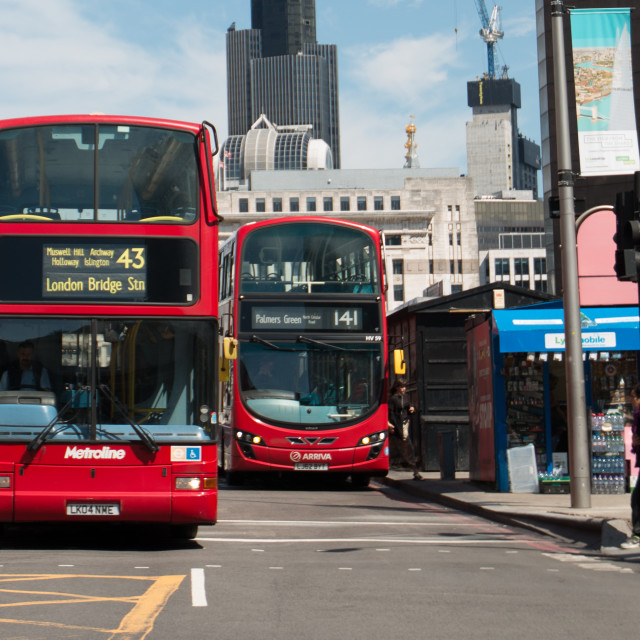 """Buses near London Bridge"" stock image"