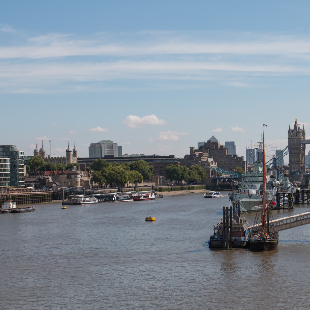 """The Pool of London from London Bridge"" stock image"