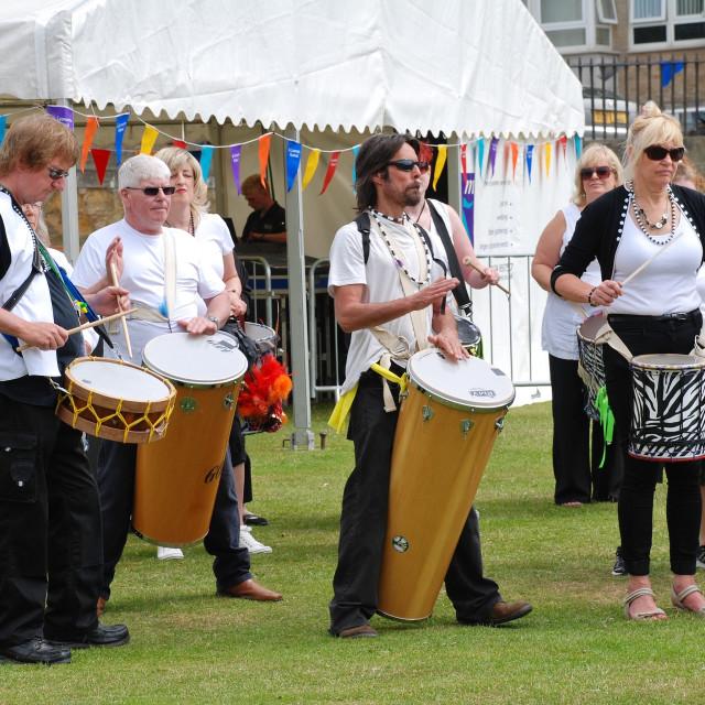 """Samba drummers, Hastings"" stock image"