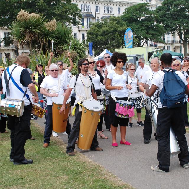"""""""St. Leonards Festival drummers"""" stock image"""