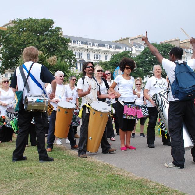 """Dende Nation samba drummers"" stock image"