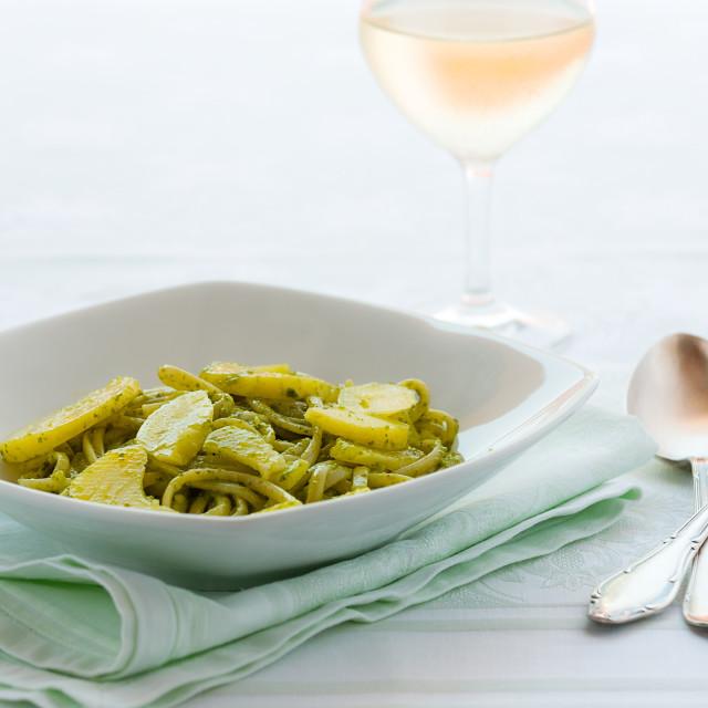 """Linguine pasta with pesto genovese"" stock image"