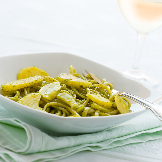 """""""Linguine pasta with pesto genovese and potatoes"""" stock image"""