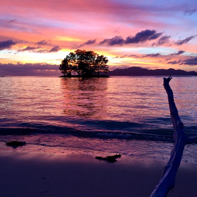 """""""Sunset Seychelles"""" stock image"""