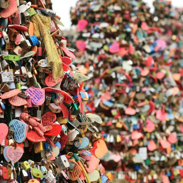 """""""love padlocks at N Seoul Tower"""" stock image"""