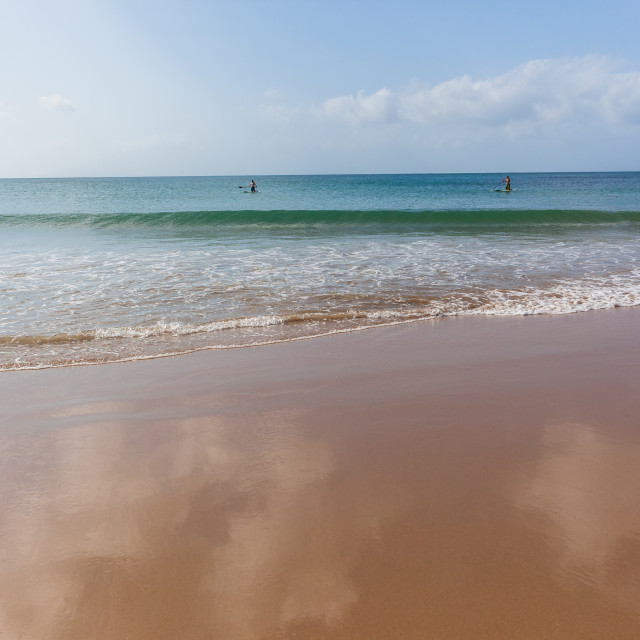 """Ocean Paddle Boarders Beach"" stock image"