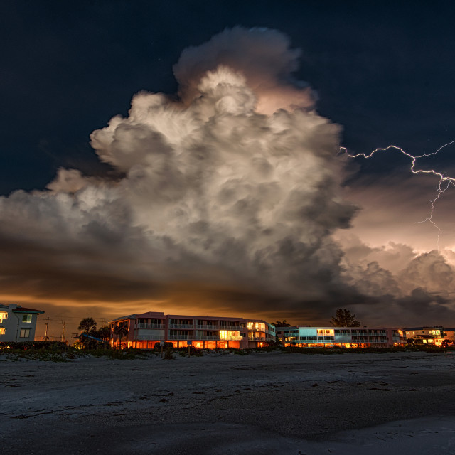 """Lightning Over Bradenton Beach"" stock image"