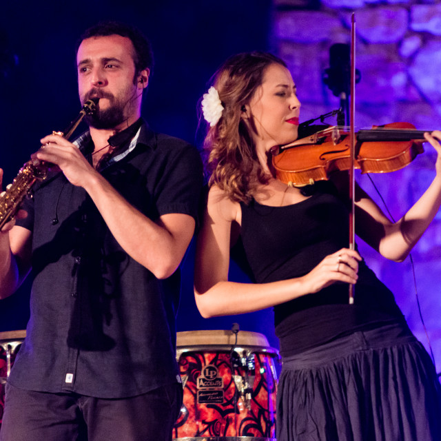 """Casas de Reina, Spain - august 13, 2017: Spanish folk band Acetre in the..."" stock image"